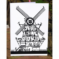 Windmill Papercut - Greetings Card