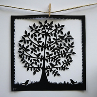 Round Tree with Five Birds - ORIGINAL PAPERCUT (15cm x 15cm)