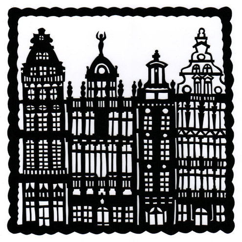 A4 Print: Baroque Houses papercut giclee