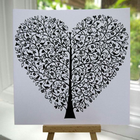Tree of Life Heart - 15cm x 15cm greetings card