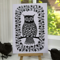 Flower Owl - Greetings Card