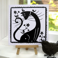 Cat with Birds - Greetings Card