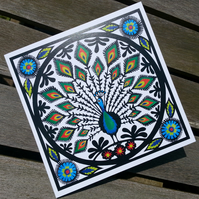 Folk Art Peacock - Greetings Card