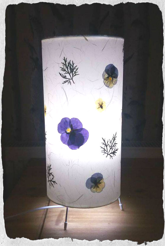 Purple pansy and buttercup fern table lamp with Japanese angel hair paper
