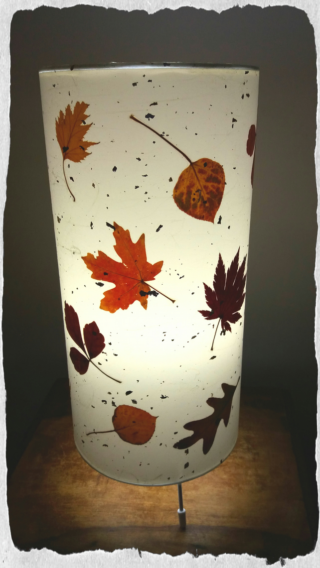 Rocky Mountain Fall leaves table lamp with aspen, maple & birch leaves