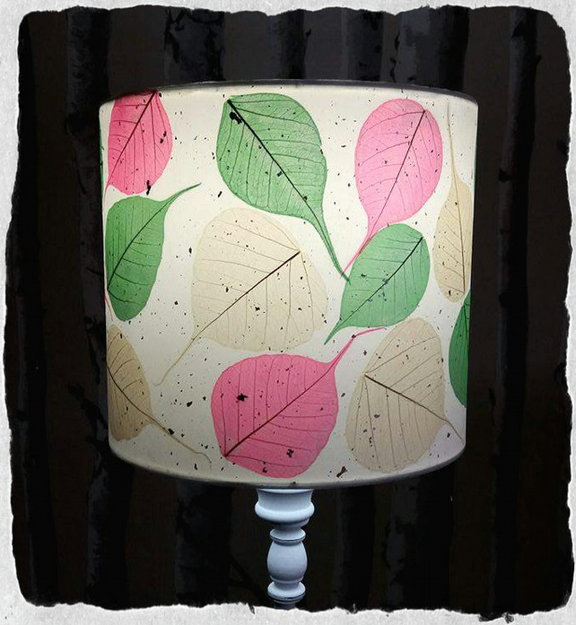 Candy Pink, Apple Green & Cream Bodhi Leaf lampshade 20 cm
