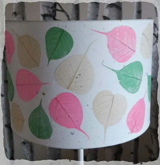 30 cm Pink, Green & Cream Bodhi Leaf Lampshade