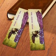 Bee On Lavender - 148mm x 52mm bookmark