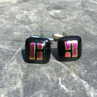 fused dichroic glass cufflinks