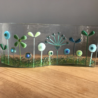 Fused Glass Wave Panel with flower design