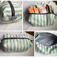 Beautiful Blue and White Stripe Make Up Bag (with surprise pattern interior)
