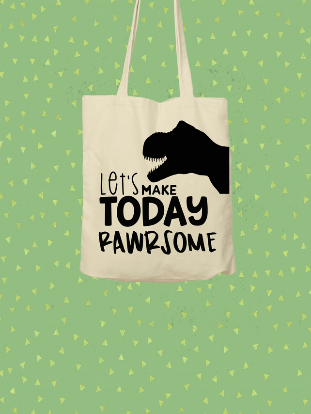 Give a tote a loving home - Rawrsome tote bag - shopping bag - Dinosaur
