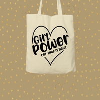 Give a tote a loving home - Girl Power - shopping bag - only on Folksy