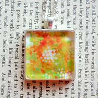 Orange and Green Silver Plated 30mm Square Pendant from Original Artwork