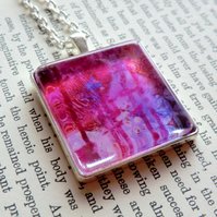 Purple and Pink Silver Plated 30mm Square Pendant from Original Artwork