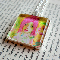 Square Yellow Silver Plated 30mm Square Pendant from Original  Artwork 'Lola'