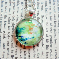 Green Pendant, Orange, Silver Plated 25mm Round Pendant from Original Artwork