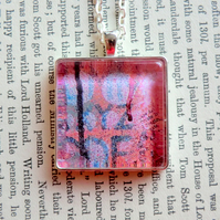 Red and Blue Silver Plated 30mm Square Pendant from Original Artwork