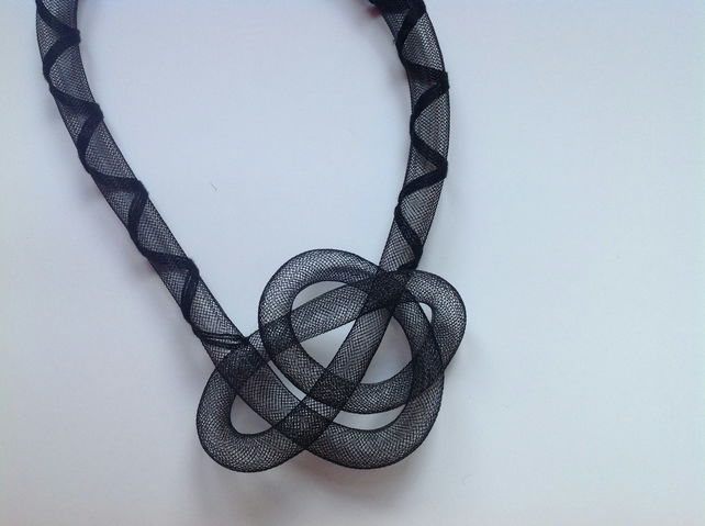 Black tubular knot necklace