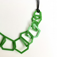 Emerald green contemporary acrylic necklace.