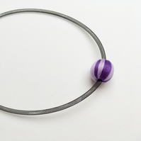 Purple wrapped bead and mesh tube necklace.