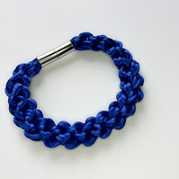Royal blue hand knotted rope bracelet.