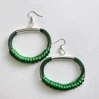 Emerald green mesh and cord modern earrings.