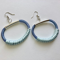 Aqua blue and navy modern hoop textile earrings.