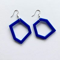 Royal blue geometric acrylic drop earrings.