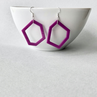 Purple contemporary design geometric acrylic pendant earrings.
