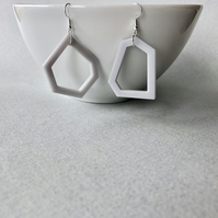 Pale grey modern geometric drop earrings.