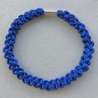 Royal blue hand knotted cord rope necklace.