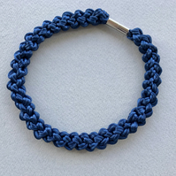Navy blue hand knotted rope necklace.