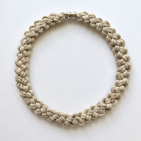 Cream cotton knotted rope necklace.
