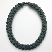 Olive green hand knotted cotton necklace.