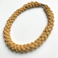 Chunky yellow ochre cotton hand knotted necklace.