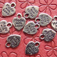 Made with love heart charms x10 (NEW) Silver colour