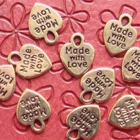 Made with love heart charms x10 (NEW) Gold colour