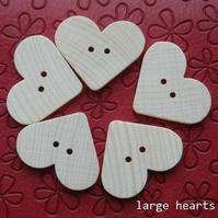 Wooden Heart Buttons (NEW)