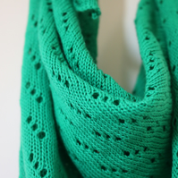Cotton Pointelle Summer Shawl in Emerald Green