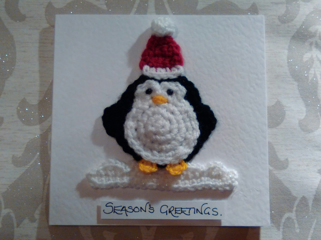 Card: Crocheted Penguin with Santa Hat