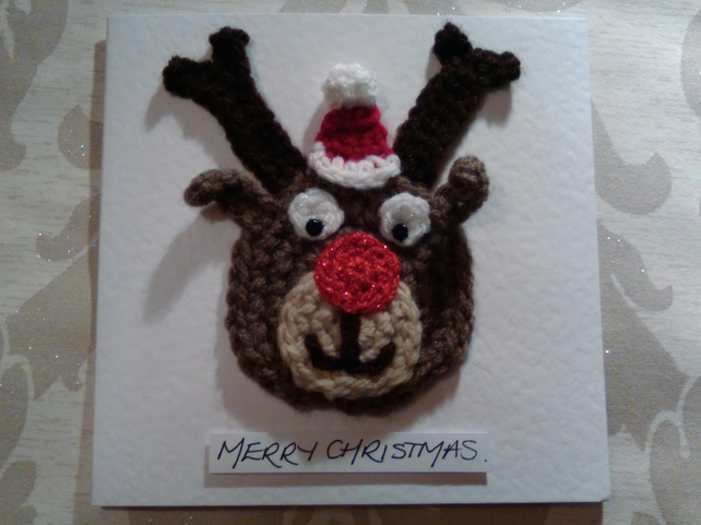Card: Crocheted Rudolph with Santa Hat