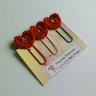 Paperclip Bookmarks, Planner Clips, Red Sparkle Yarn Hearts with Beads