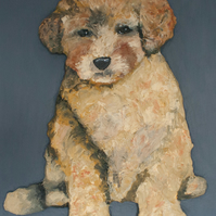 Poodle Puppy 3D Acrylic Painting by Purple Faye