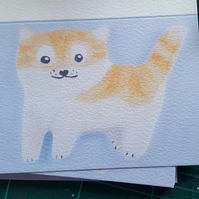 Ginger Cat Card by artist Purple Faye