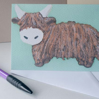 Highland Cow card by artist Purple Faye