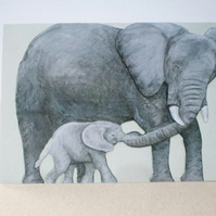 Mummy and Baby African Elephants Card by artist Purple Faye