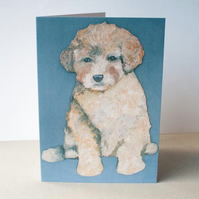 Poodle Puppy Dog card by artist Purple Faye