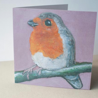 Robin Christmas Bird Card by artist Purple Faye
