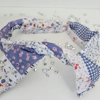 Blue Patchwork Twisted Headband